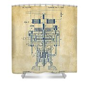 1894 Tesla Electric Generator Patent Vintage Shower Curtain by Nikki Marie Smith