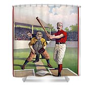 1895 Batter Up At Home Plate Shower Curtain by Daniel Hagerman