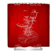 1896 Dental Chair Patent Red Shower Curtain