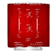 1896 Dental Excavator Patent Red Shower Curtain