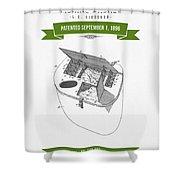 1896 Fishing Basket Patent Drawing - Green Shower Curtain