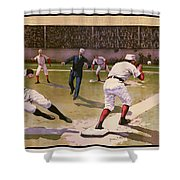 1898 Baseball -  American Pastime  Shower Curtain by Daniel Hagerman