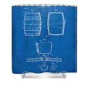 1898 Beer Keg Patent Artwork - Blueprint Shower Curtain