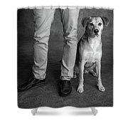 Portrait Of Red Bone Coon Mix Dog Shower Curtain