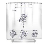 1900 Corkscrew Patent Blueprint Shower Curtain