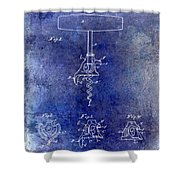 1900 Corkscrew Patent Drawing Blue Shower Curtain