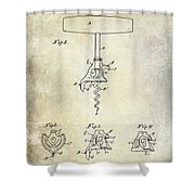 1900 Corkscrew Patent Drawing Shower Curtain