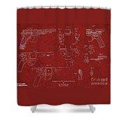 1900 Landstad Automatic Revolver Patent Shower Curtain