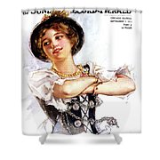 1900s 1913 Smiling German Girl Wearing Shower Curtain