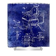 1901 Barber Chair Patent Drawing Blue Shower Curtain