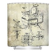 1901 Barber Chair Patent Drawing  Shower Curtain