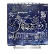 1901 Motorcycle Patent Drawing Blue Shower Curtain