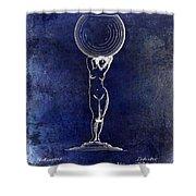 1901 Wine Glass Design Patent Blue Shower Curtain
