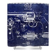 1903 Colt Revolver Patent Drawing Blue Shower Curtain