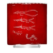1903 Dental Pliers Patent Red Shower Curtain
