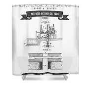 1906 Well Drilling Apparatus Patent Drawing - Retro Gray Shower Curtain