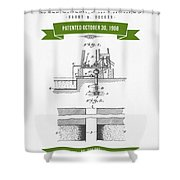1906 Well Drilling Apparatus Patent Drawing - Retro Green Shower Curtain