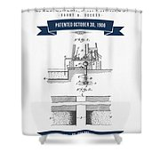 1906 Well Drilling Apparatus Patent Drawing - Retro Navy Blue Shower Curtain