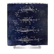 1907 Fishing Lure Patent Blue Shower Curtain