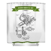 1907 Fishing Reel Patent Drawing - Green Shower Curtain