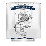 1907 Fishing Reel Patent Drawing - Navy Blue Shower Curtain