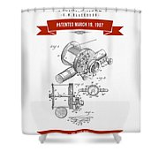 1907 Fishing Reel Patent Drawing - Red Shower Curtain
