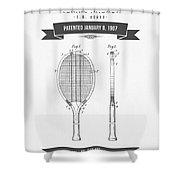 1907 Tennis Racket Patent Drawing - Retro Gray Shower Curtain
