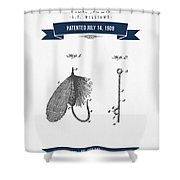 1908 Fish Hook Patent Drawing - Retro Navy Blue Shower Curtain