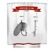 1908 Fish Hook Patent Drawing - Retro Red Shower Curtain