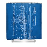 1908 Flute Patent - Blueprint Shower Curtain