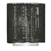 1908 Flute Patent - Gray Shower Curtain