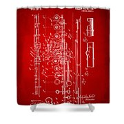 1908 Flute Patent - Red Shower Curtain