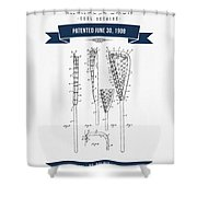 1908 Lacrosse Stick Patent Drawing - Retro Navy Blue Shower Curtain