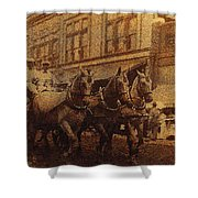 1908 Nickel-plated  Nott Steamer Fire Truck July 4th Parade East Congress Tucson Arizona 1909-2009 Shower Curtain