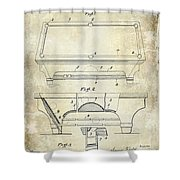 1909 Billiard Table Patent Drawing  Shower Curtain