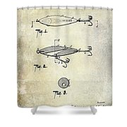 1909 Fishing Lure Patent Drawing Shower Curtain