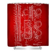 1909 Flute Patent In Red Shower Curtain