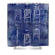 1910 Cigar Cutter Patent Drawing Blue Shower Curtain