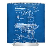 1911 Automatic Firearm Patent Artwork - Blueprint Shower Curtain
