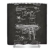1911 Automatic Firearm Patent Artwork - Gray Shower Curtain