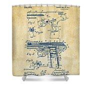 1911 Automatic Firearm Patent Artwork - Vintage Shower Curtain