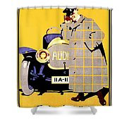 1912 - Audi Automobile Advertisement Poster - Ludwig Hohlwein - Color Shower Curtain
