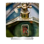 1912 Rolls-royce Silver Ghost Cann Roadster Skull Hood Ornament Shower Curtain