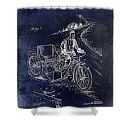 1913 Motorcycle Side Car Patent Blue Shower Curtain