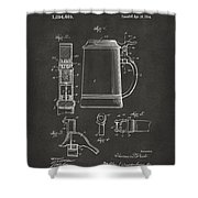 1914 Beer Stein Patent Artwork - Gray Shower Curtain