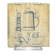 1914 Beer Stein Patent Artwork - Vintage Shower Curtain