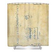 1914 Flute Patent - Vintage Shower Curtain