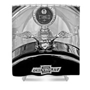 1915 Chevrolet Touring Hood Ornament - Moto Meter Shower Curtain