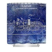 1916 Automobile Fire Apparatus Patent Drawing Lt Blue Shower Curtain