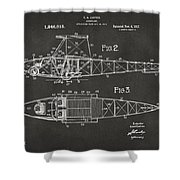 1917 Glenn Curtiss Aeroplane Patent Artwork 2 - Gray Shower Curtain